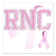 "RNC initials, Pink Ribbo Square Car Magnet 3"" x 3"""