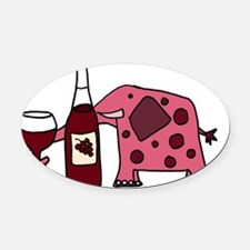 Pink Elephant Drinking Wine Oval Car Magnet