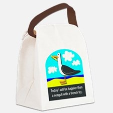 Happier than a Seagull with a Fre Canvas Lunch Bag