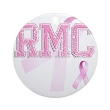 RMC initials, Pink Ribbon, Round Ornament