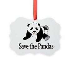 SAVE THE PANDAS Picture Ornament