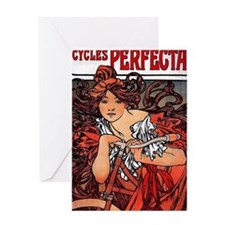 Cycles Perfecta Mucha woman with bic Greeting Card