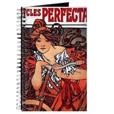 Cycles Perfecta Mucha woman with bicycle Journal