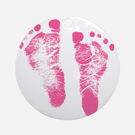 Baby Girl Footprints Round Ornament