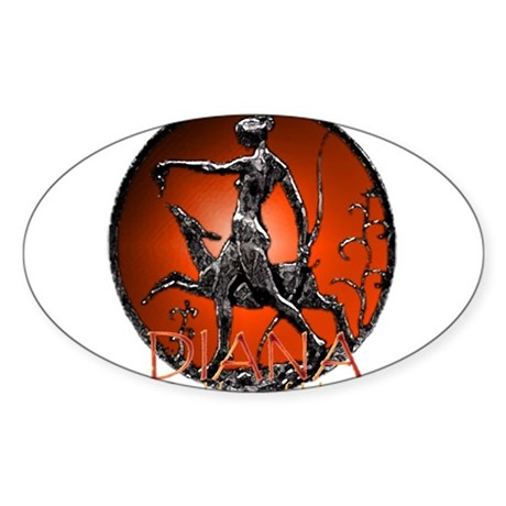 Diana Goddess of Hunt Oval Sticker