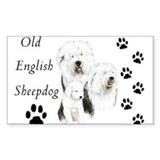 Sheepdog prints Rectangle Decal