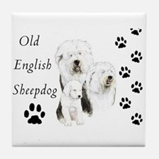 Sheepdog prints Tile Coaster