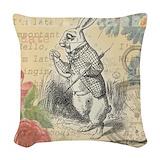 Alice in wonderland rabbit blue and pinksillouett Throw Pillows