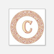 "Monogram C vintage symbol Square Sticker 3"" x 3"""