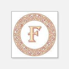 "Monogram F vintage symbol Square Sticker 3"" x 3"""