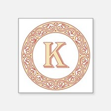 "Monogram K vintage symbol Square Sticker 3"" x 3"""