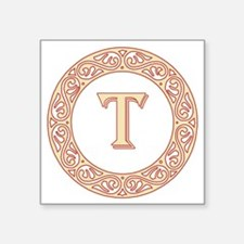 "Monogram T vintage symbol Square Sticker 3"" x 3"""