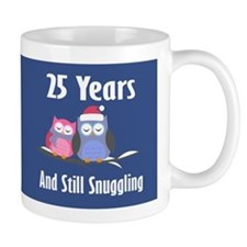 Cute 25th Anniversary Snuggly Owls Mugs