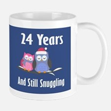 Cute 24th Anniversary Snuggly Owls Mugs