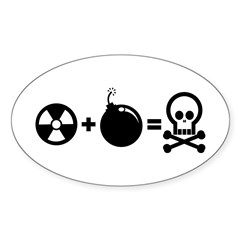 Nuclear Plus Bombs Oval Decal
