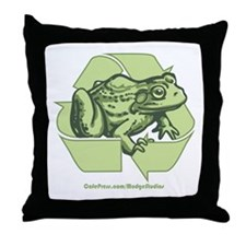 Green is Groovy frog Throw Pillow