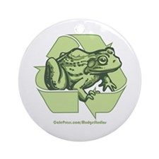 Green is Groovy frog Ornament (Round)