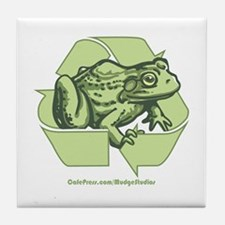 Green is Groovy frog Tile Coaster