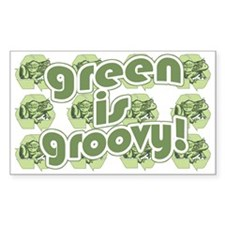 Green is Groovy frog Rectangle Decal