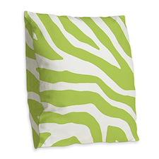 Lime White Zebra Pattern Burlap Throw Pillow