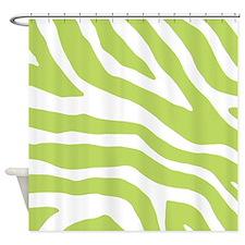 Lime White Zebra Pattern Shower Curtain
