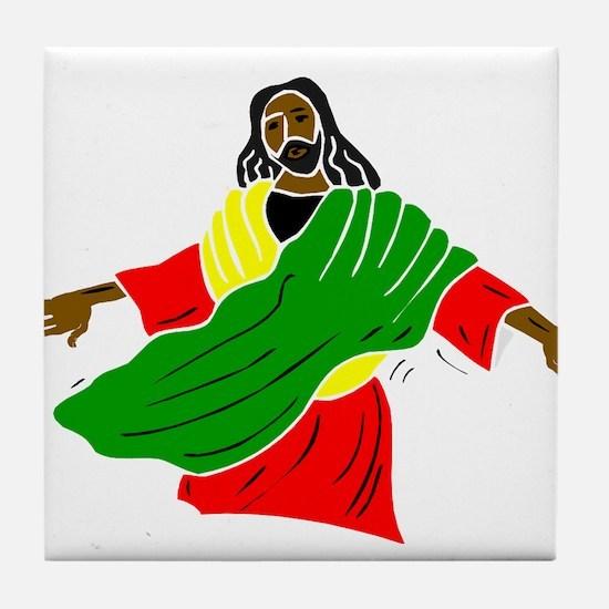 Black Jesus Tile Coaster