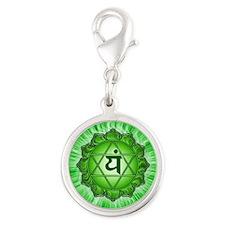 Heart Chakra Silver Round Charm