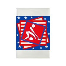 Curling American Style Rectangle Magnet