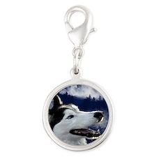 Alaskan Husky Silver Round Charm
