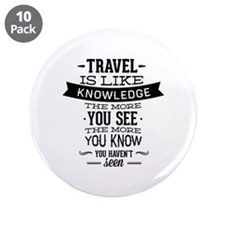 "Travel Is Like Knowledge 3.5"" Button (10 pack)"