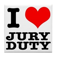 I Heart (Love) Jury Duty Tile Coaster