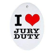 I Heart (Love) Jury Duty Oval Ornament