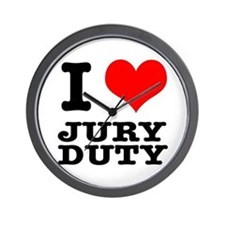 I Heart (Love) Jury Duty Wall Clock