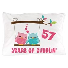 57th Anniversary Owl Couple Pillow Case