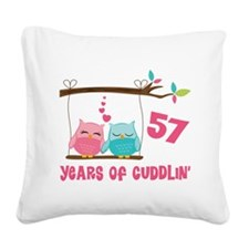 57th Anniversary Owl Couple Square Canvas Pillow