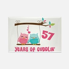 57th Anniversary Owl Couple Rectangle Magnet