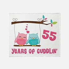 55th Anniversary Owl Couple Throw Blanket