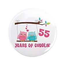 "55th Anniversary Owl Couple 3.5"" Button"