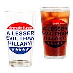 A Lesser Evil Than Hillary Drinking Glass