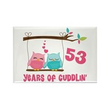 53rd Anniversary Owl Couple Rectangle Magnet