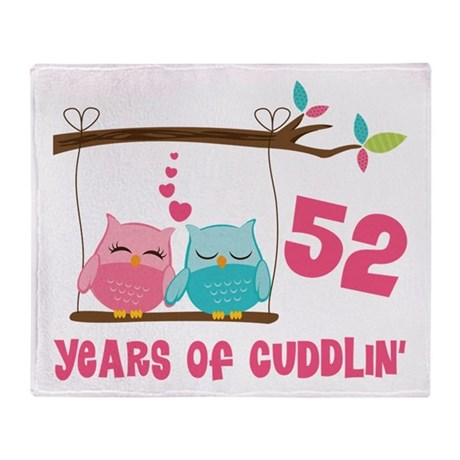 52nd Anniversary Owl Couple Throw Blanket By