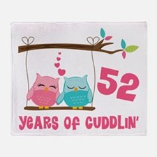 52nd Anniversary Owl Couple Throw Blanket