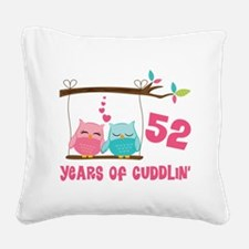 52nd Anniversary Owl Couple Square Canvas Pillow