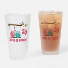 50th Anniversary Owl Couple Drinking Glass