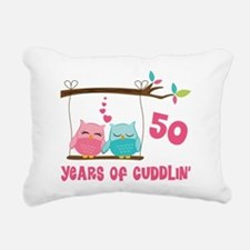 50th Anniversary Owl Couple Rectangular Canvas Pil