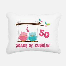 50th Anniversary Owl Couple Rectangular Canvas Pil