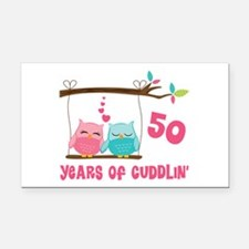 50th Anniversary Owl Couple Rectangle Car Magnet