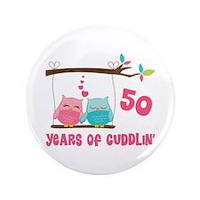 "50th Anniversary Owl Couple 3.5"" Button"