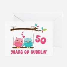 50th Anniversary Owl Couple Greeting Cards (Pk of
