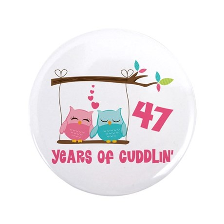 "47th Anniversary Owl Couple 3.5"" Button"
